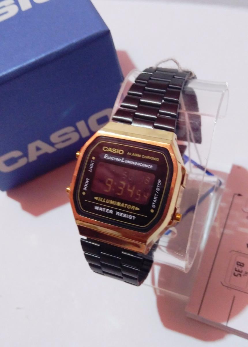 Para estrenar a2219 7d053 Reloj Casio A168 Negro / Dorado Nuevos Retro Vintage Hombre Mujer Clasico  Dama Caballero Iluminator Vintage Gold