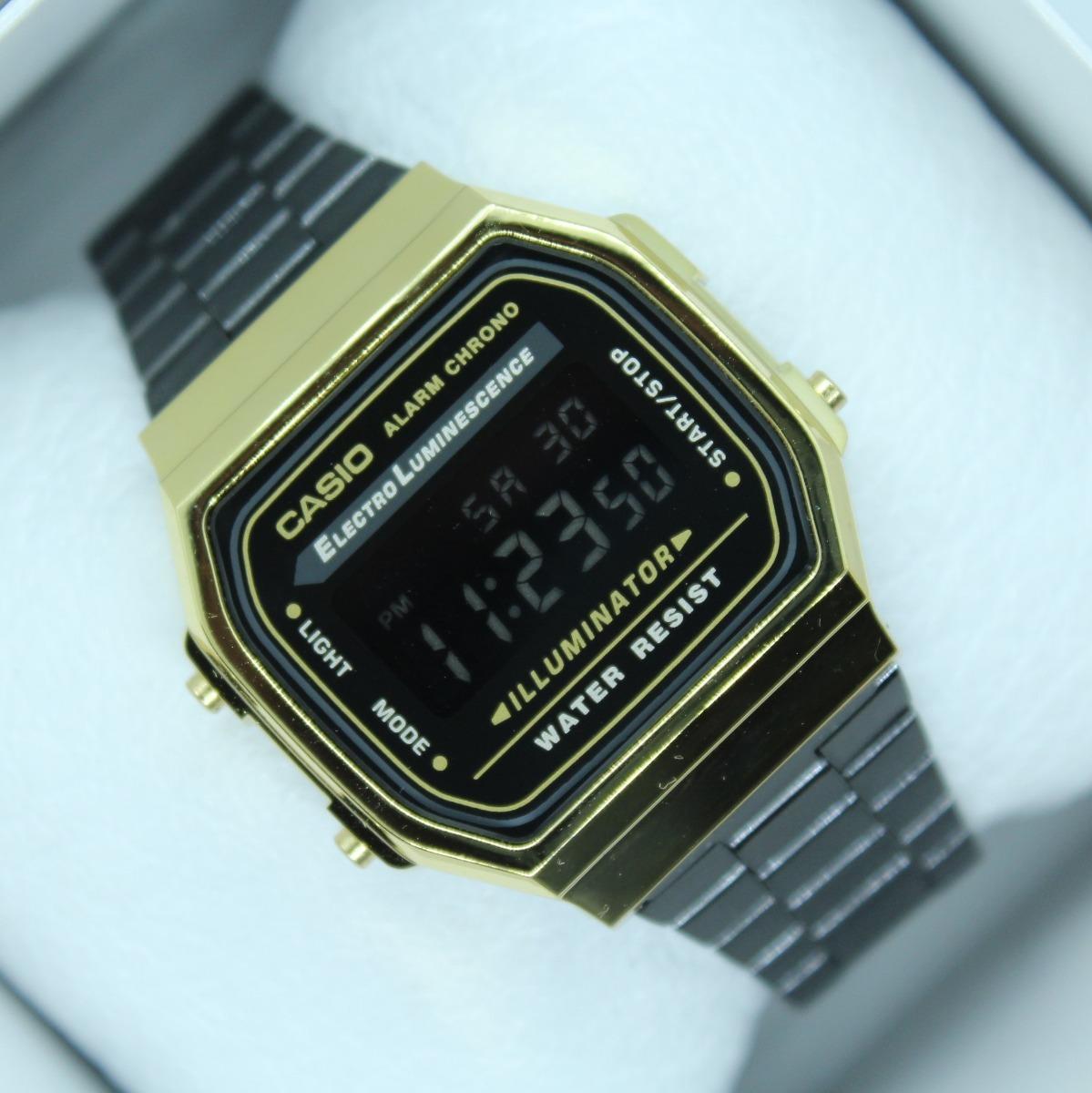 a11483866040 Reloj Casio A168 Negro Dorado Retro Vintage -   429.00 en Mercado Libre