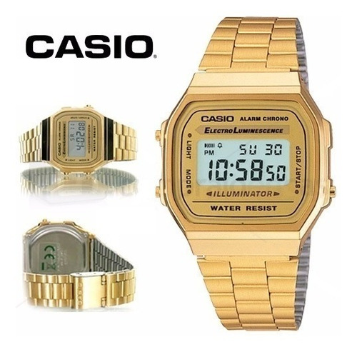 reloj casio a168 original retro dorado mujer envio gratis