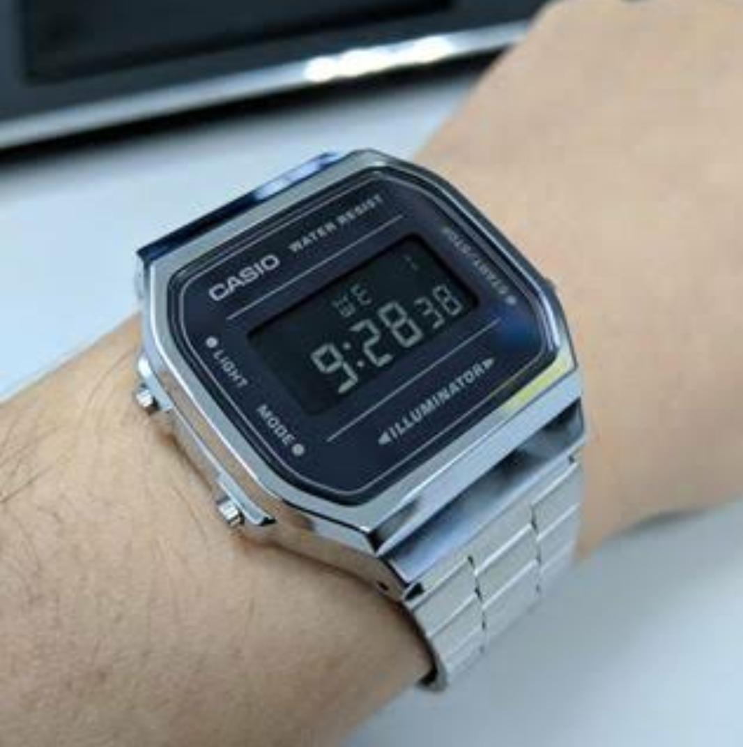 89d52f2d181e reloj casio a168 vintage plata caratula negro espejo. Cargando zoom.