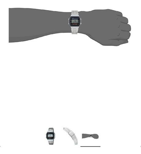 reloj casio a168w-1 masculino con la cara negro / plata band
