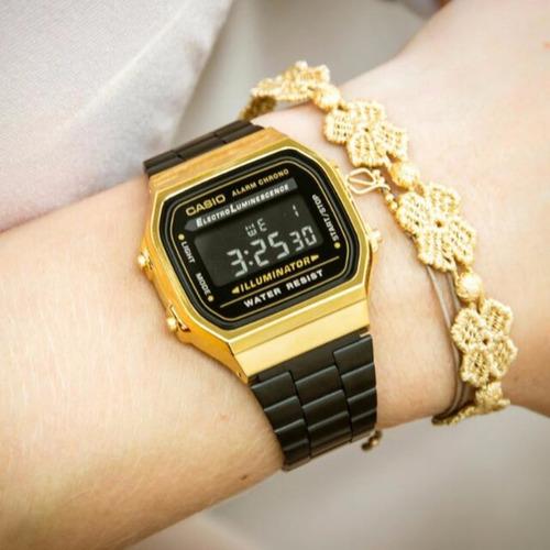 reloj casio a168w dorado negro clasico retro dama envio