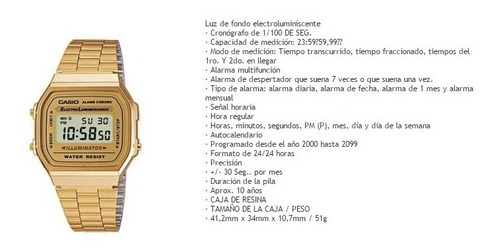 reloj casio a168w  retro dama 100% original garantia 12 ms
