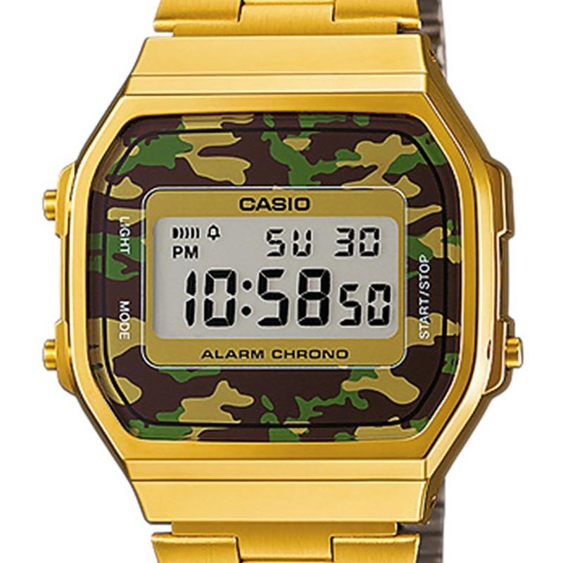 5150af44fe66 reloj casio a168wegc-3vt vintage dorado camuflaje luz azul. Cargando zoom.