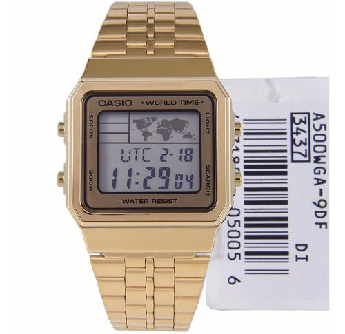 reloj casio a500wga-9 para caballero dorado digital acero in