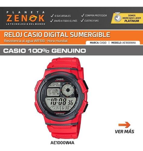 reloj casio ae-1000w sumergible 100m alarmas mundial luz
