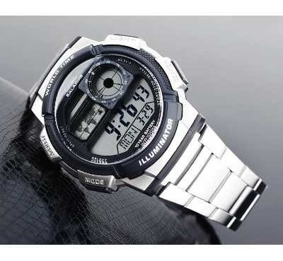 reloj casio ae-1000wd-1av, resistente al agua, hora mundial