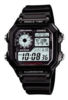 reloj casio ae-1200wh hombre 5 alarmas 100m sumergible