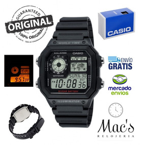 Luz Casio Mundial 1200wh Plastico Ae Reloj Alarma C Mapa CQsrdBothx