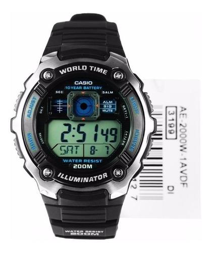 reloj casio ae-2000w-1a negro para caballero digital