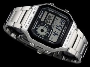 reloj casio ae1200 acero 5 alarmas temporizador luz agua100m