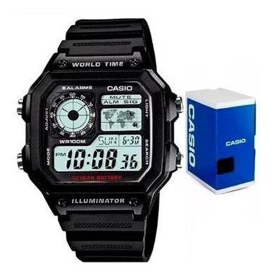 Reloj Casio Ae1200 Wh Mapa Alarmas Caballero Original