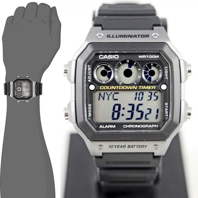 Casio Reloj Ae1300wh Alarmas Wr100 Agua 5 Gris Resistente hQdtsrC