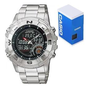 Fases Termómetro Acero Caza Casio Amw705 Lunares Reloj N8X0OPkwn