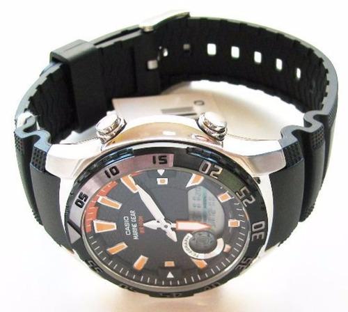 Reloj Casio Amw710 Negro Marine Gear Dual Wr100 Env 237 O