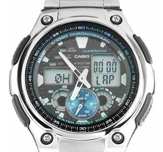 Inox Reloj Crono Casio 100m 1a 190wd Sumerg Aq Acero Alarma rxCdBeo