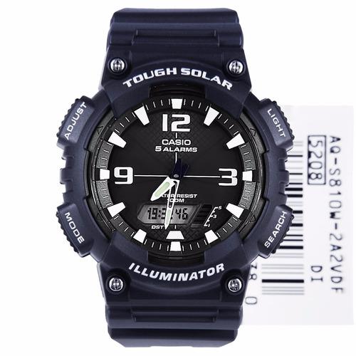 reloj casio aq-s810w-2a2vdf, energia solar, iluminacion led