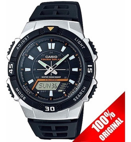 Aqs800 Reloj Plata Led Casio Negro Solar OP8nwkX0