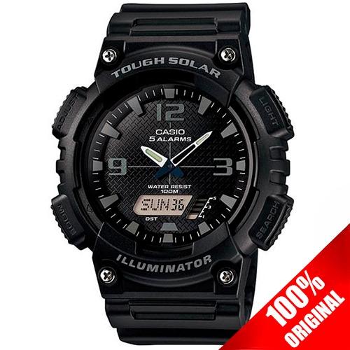 100Original Aqs810 Solar Reloj Batería Negro Casio 8Nwmn0
