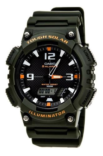 reloj casio aqs810w-3a tough solar analógico deportivo verde
