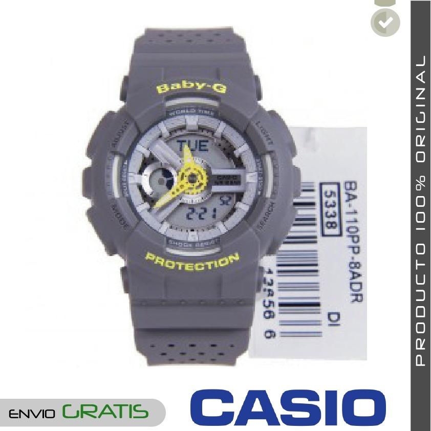 645d3a28cc3f Reloj Casio Baby-g Ba-110pp-8a Resistente Al Agua - Gris -   467.692 ...