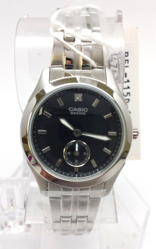 reloj casio beside bel115d-1a mujer black dial stainless ste