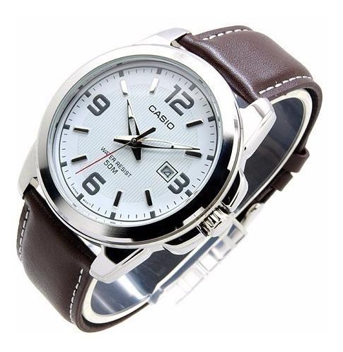 Casio Mtp1314 Piel Reloj Fechador Cfmx Caballero 354LAjR