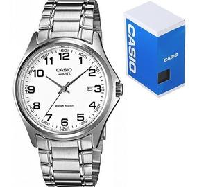 Reloj Casio Clásico Mtp1183 Blanco Numeros Acero Cristal