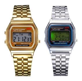 Retro Plateado Unisex Clasico Vintage Reloj Dorado Casio mnvNywP80O