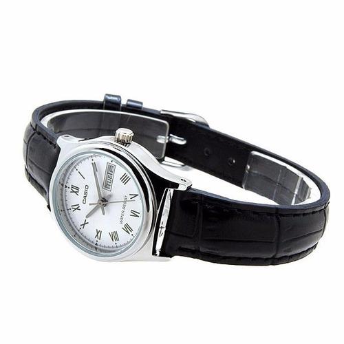 reloj casio dama correa de cuero negro