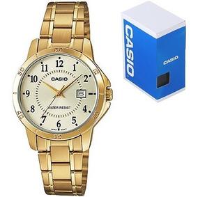 Dorado Ltp V004 Dama Cristal Reloj Fechador Casio Mineral tCsdhQrx
