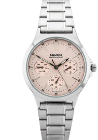 la mejor actitud 31c8d 76160 Reloj Casio Dama Ltp-v300d Acero Y Cuero Multiaguja Original