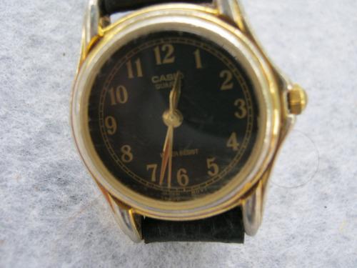 reloj casio dama pulsera a quarzo esfera negra