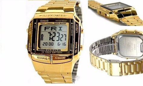 reloj casio db-360g-9adf, data bank, dorado,acero inoxidable