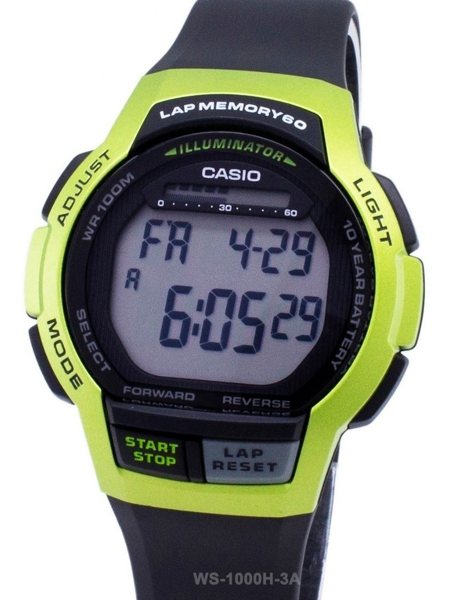 Deporte Laps Crono Casio Ws Reloj Cuenta 1000h Regresiva 60 b7Yfg6yv