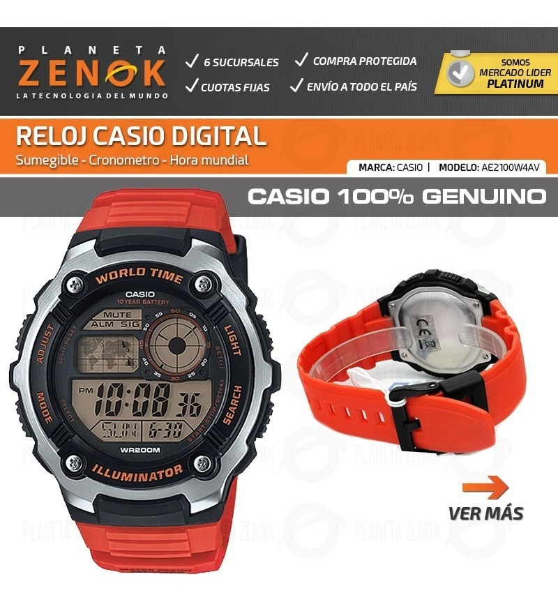 Digital Ae 2100w Cronometro Reloj Casio Mundial Sumergible IH2EWD9