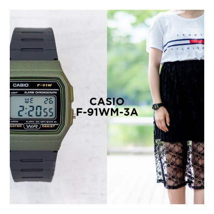 reloj casio digital para hombre y mujer f-91wm-3a