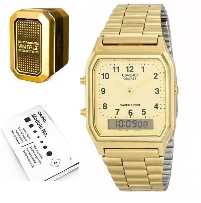 52a7a1c2c861 Reloj Casio Dorado Aq230 Analogo Digital Con Numeros -   1