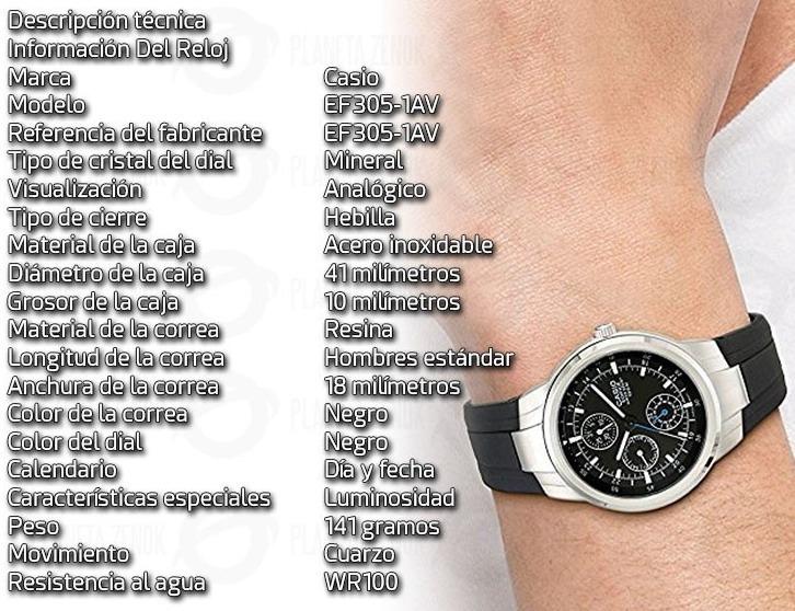 9c8788a4d526 Reloj Casio Edifice Ef-305 Sumergible 100m Acero Inoxidable ...