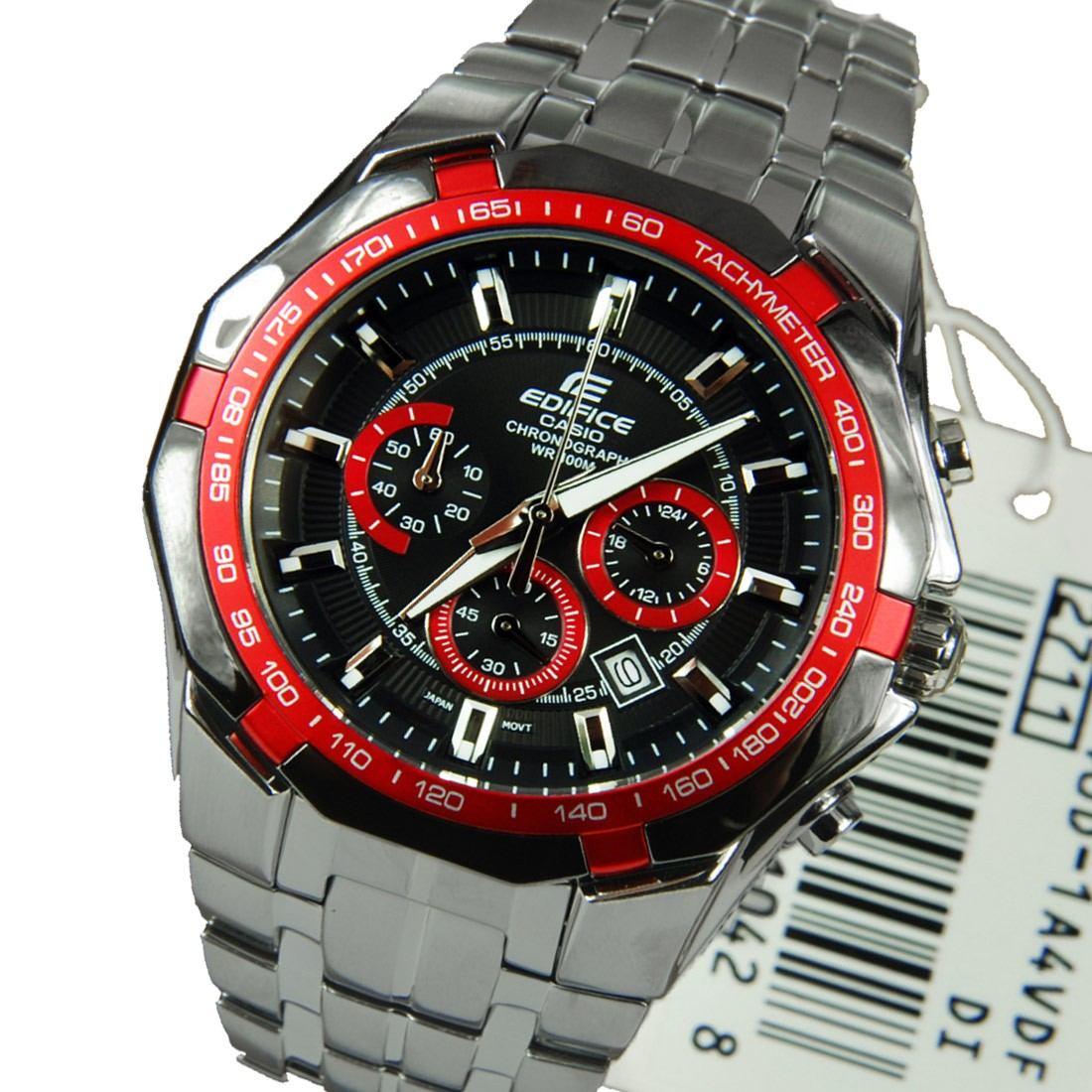 4b1849abe4dd Reloj Casio Edifice Ef-540d-1a4-plateado Con Rojo -   775.900 en ...