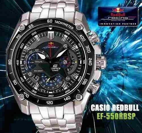 reloj casio edifice ef-550rbsp-1av red bull - 100% original