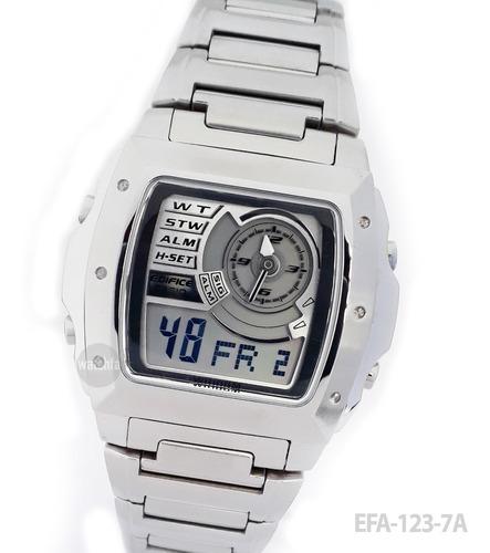 reloj casio edifice efa-123 efa-123d retro vintage acero 100
