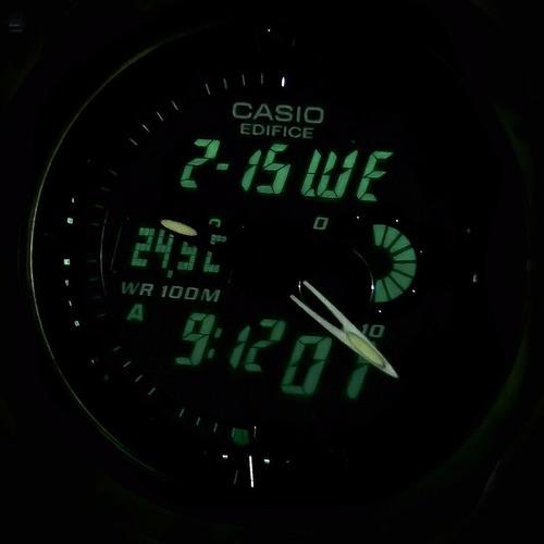 reloj casio edifice efa119 - termómetro alarmas cronómetro