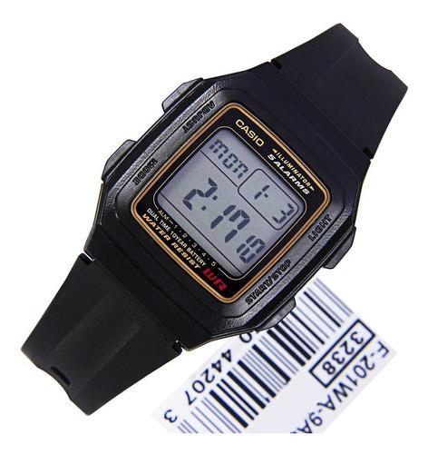 reloj casio f-201wa-9a hombre vintage agente oficial jr