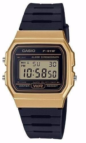 Original Retro Casio Vintage Unisex Reloj Dorado F91w We9IHD2EY
