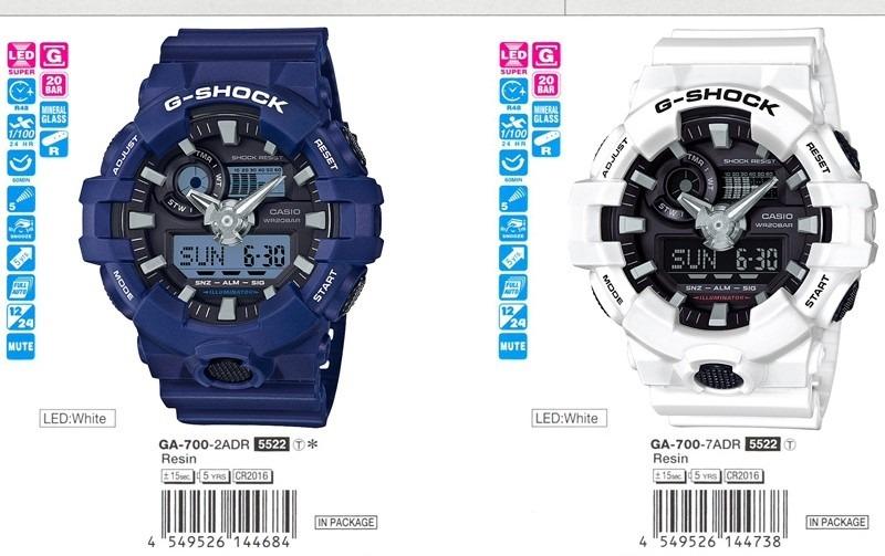 G Casio Reloj Azul Shock Ga700 2a Hombre Original 8Nmn0w