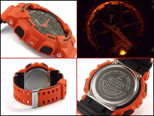 reloj casio g shock ga 100 naranja/negro edición bicolor