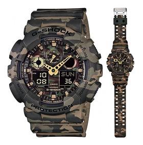 Reloj Casio G shock Ga 100cm 5a Verde Militar Hombre Selfie