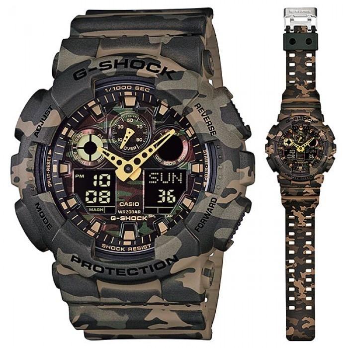 2bb14690c166 Reloj Casio G-shock Ga-100cm-5a Verde Militar Hombre Selfie ...