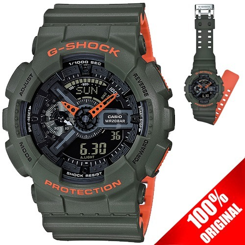 515cc79dab71f Reloj Casio G Shock Ga 110 Edición Bicolor Verde   Naranja ...